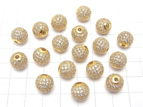 Metal part Round beads 6 mm, 8 mm, 10 mm gold color (with CZ) 1 pc