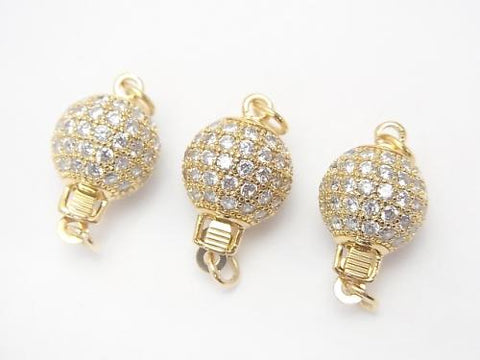 Metal Parts clasp Round 8 mm, 10 mm gold color (with CZ) 1 pc $3.99