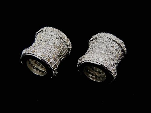 Metal Part Tube 9 x 8.5 x 8.5 Silver Color (with CZ) 1 pc $4.59!