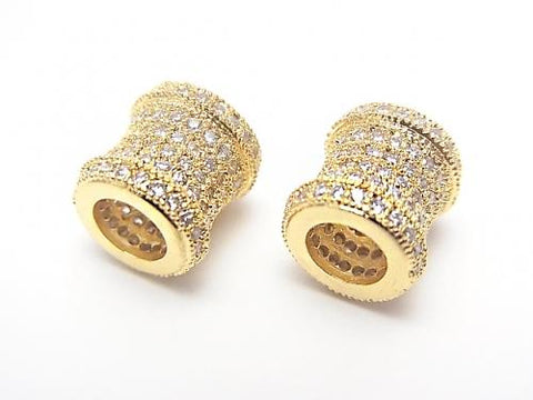 Metal Part Tube 9 x 8.5 x 8.5 Gold Color (with CZ) 1 pc $4.59!
