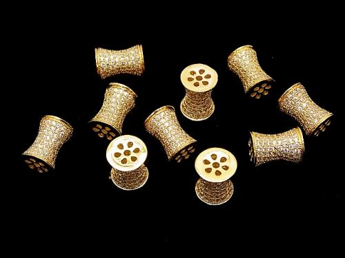 Metal Parts Tube 11 x 8 x 8 mm Gold Color (with CZ) 1 pc $4.79!