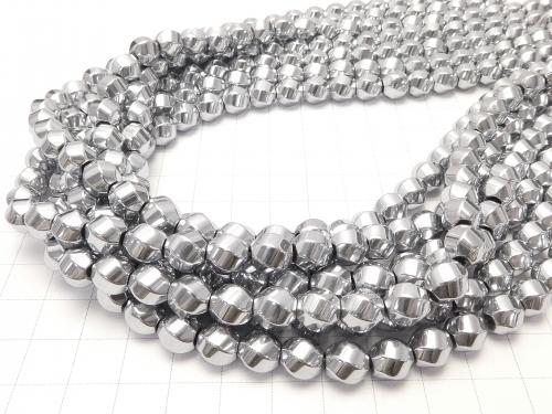 1strand $7.79! Hematite Twist 6 Faceted Round 8 x 8 mm x 8 mm Silver coating 1 strand (Approx 37 cm