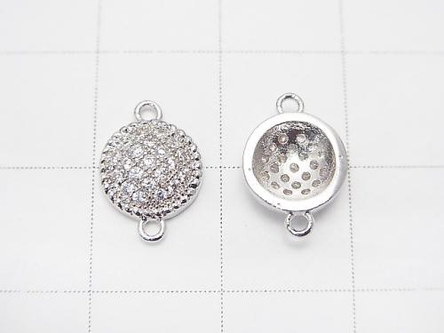 Metal Part Joint Part Coin 11 x 8 mm Silver Color (with CZ) 1 pc $1.79