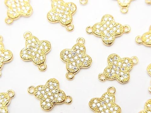 Metal Part Joint Part Flower 12 x 8.5 Gold Color (with CZ) 1 pc $1.99