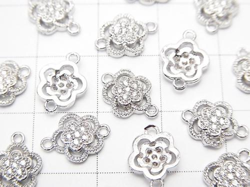 Metal Part Joint Part Flower 10.5 x 8 mm Silver Color (with CZ) 1 pc $1.99