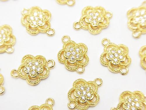 Metal Part Joint Part Flower 10.5 x 8 mm Gold Color (with CZ) 1 pc $1.99