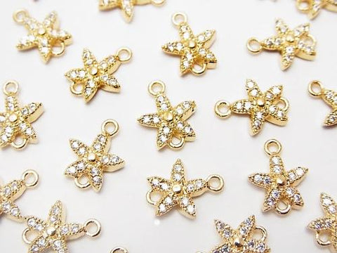 Metal Part Joint Parts Flower 9 x 7.5 Gold Color (with CZ) 1 pc $1.99
