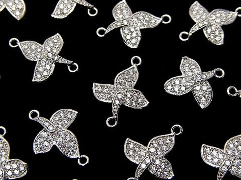Metal Part Joint Parts Leaf 15 x 11 mm Silver Color (with CZ) 1 pc $2.59
