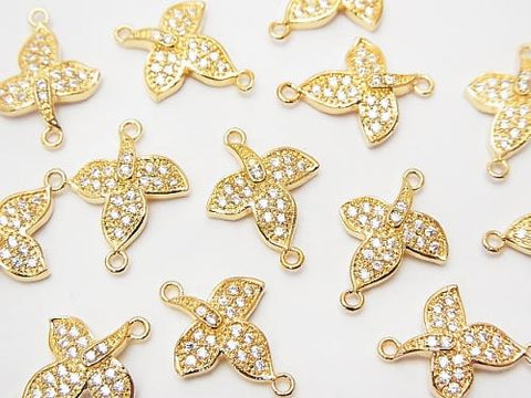 Metal Parts Joint part leaf 15 x 11 mm gold color (with CZ) 1 pc $2.59