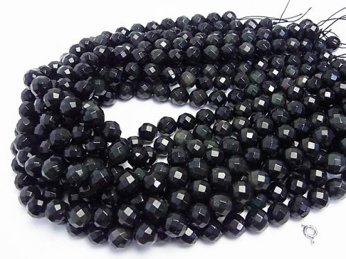 1strand $8.79! Rainbow Obsidian AAA 64 Faceted Round 10 mm 1 strand (aprx.15 inch / 38 cm)