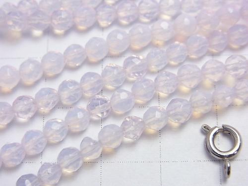 1strand $4.79! Synthetic Opal 32 Faceted Round 4mm Pink NO.1 1strand (aprx.15inch / 38cm)