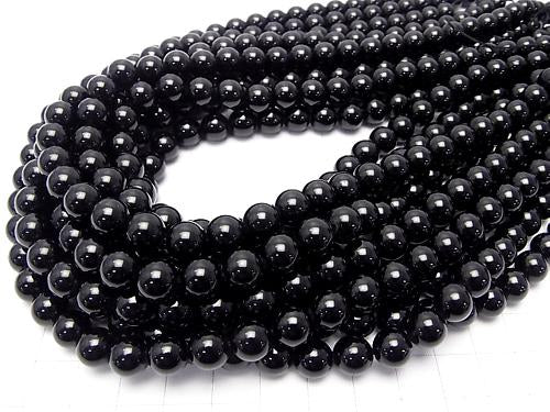 Black Tourmaline AAA Round 8mm half or 1strand (aprx.15inch / 38cm)