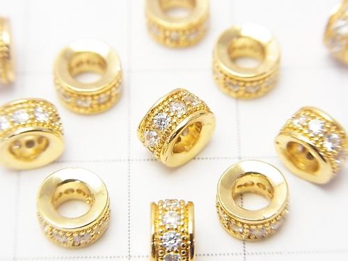 Metal Parts Roundel 6 x 6 x 3 mm Gold Color (with CZ) 3pcs $4.79!