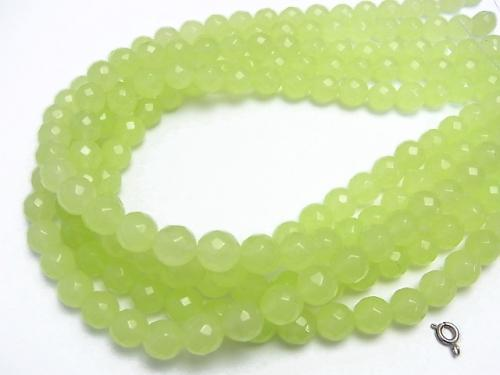 1strand $7.79! Yellow Green Jade 64Faceted Round 10mm 1strand (aprx.15inch / 38cm)