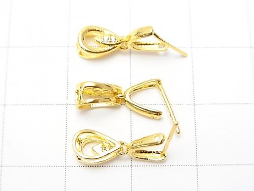 Metal Parts Pendant Bail  Gold Color (with CZ) NO.2 2pcs $2.79!