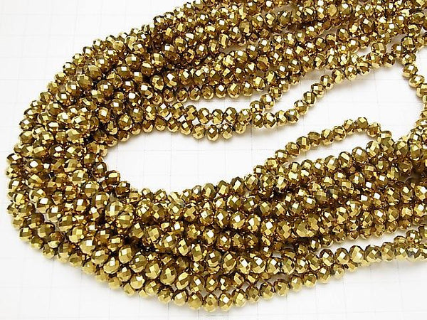 [Video] Glass Beads Faceted Button Roundel 6 x 6 x 4 mm gold 1 strand (aprx.16 inch / 40 cm)