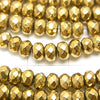 Magnetic! 1strand $8.79! Hematite Faceted Button Roundel 4 x 4 mm x 3 mm gold coating 1 strand (aprx.15 inch / 38 cm)
