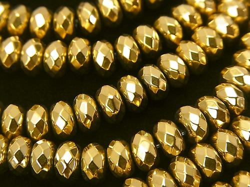 [Video] Hematite Faceted Button Roundel 6x6x4mm Gold Coating 1strand (aprx.15inch/38cm)