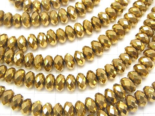 Hematite Faceted Button Roundel 8 x 8 mm x 5 mm gold coating half or 1 strand (aprx.15 inch / 38 cm)