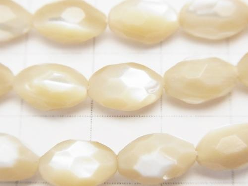 1strand $7.79! Mother of Pearl MOP Faceted Rice 10 x 6 x 6 mm beige 1 strand (aprx.15 inch / 38 cm)