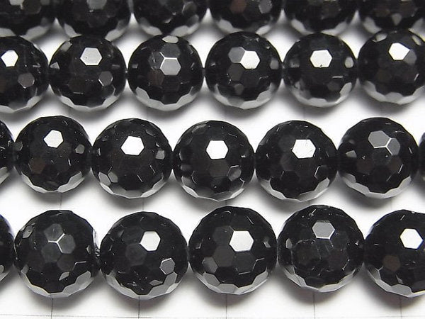 Black Tourmaline AAA 128Faceted Round 10mm half or 1strand (aprx.15inch / 38cm)