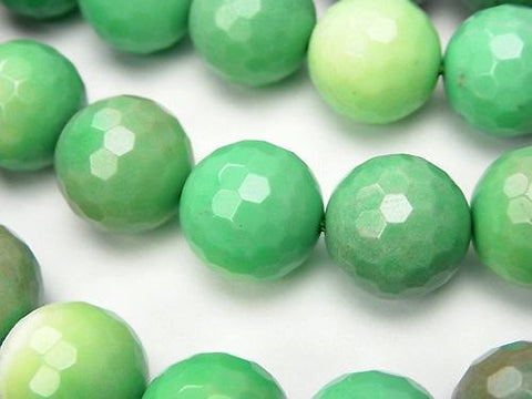 Natural color green Chalcedony 128 Faceted Round 14 mm half or 1 strand (aprx.15 inch / 36 cm)