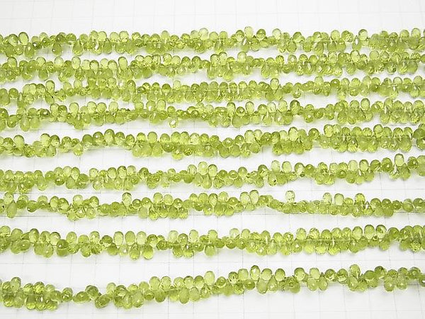 High Quality Peridot AAA- Drop  Faceted Briolette  half or 1strand (aprx.8inch/20cm)