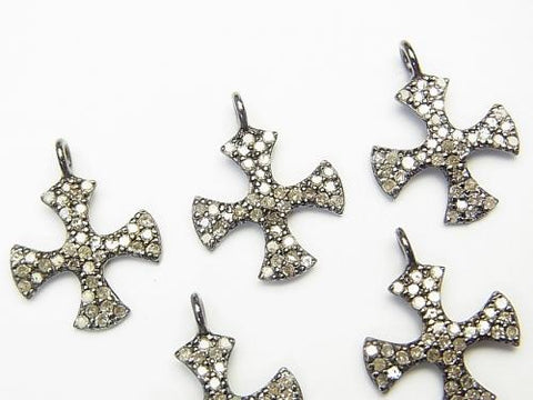 Diamond Cross Charm 14x 14 x 1 Silver 925 (BKRhodium Plated) 1 pc!