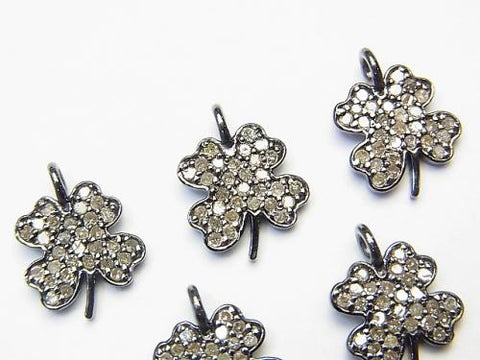 Diamond Clover Charm 11x10x1.5 Silver925 (BKRhodium Plated) 1pc!