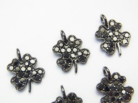 Black Diamond Clover Charm 11x10x1.5 Silver925 (BKRhodium Plated) 1pc!