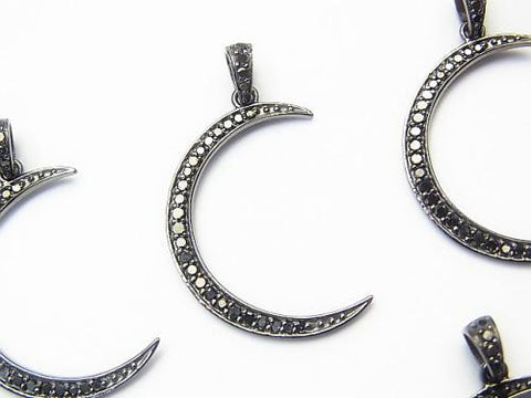 Black Diamond moon motif charm 25 x 18 x 1 Silver 925 (BKRhodium Plated) 1 pc!