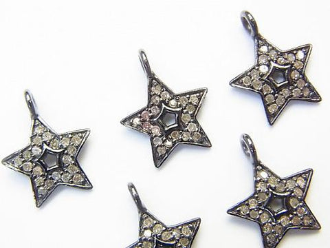 Diamond star motif charm 11 x 11 x 1 Silver 925 (BKRhodium Plated) 1 pc!
