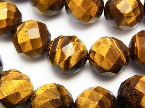 Yellow Tiger Eye AA ++ 64 Faceted Round 14 mm half or 1 strand (aprx. 15 inch / 38 cm)
