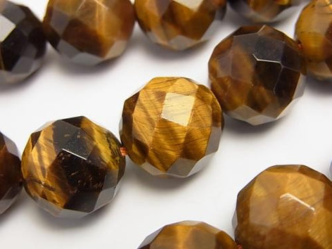 Yellow Tiger Eye AA ++ 64 Faceted Round 16 mm half or 1 strand (aprx.15 inch / 36 cm)