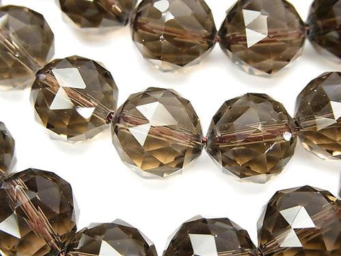 Smoky Crystal Quartz AAA Triangle Faceted Round 14mm  half or 1strand (aprx.14inch/35cm)