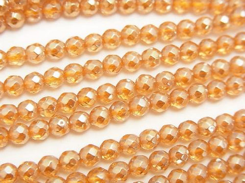 1strand $9.79! Champagne Color Quartz AAA 32 Faceted Round 4 mm 1strand (aprx.15 inch / 37 cm)