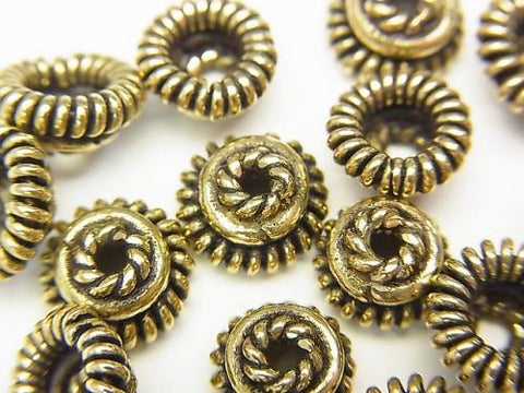 Brass bead cap 8 x 8 x 4 mm Oxidized Finish half or 1 strand (aprx.7 inch / 18 cm)