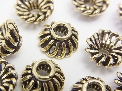 Brass bead cap 10 x 10 x 5 mm Oxidized Finish half or 1 strand (aprx.9 inch / 22 cm)