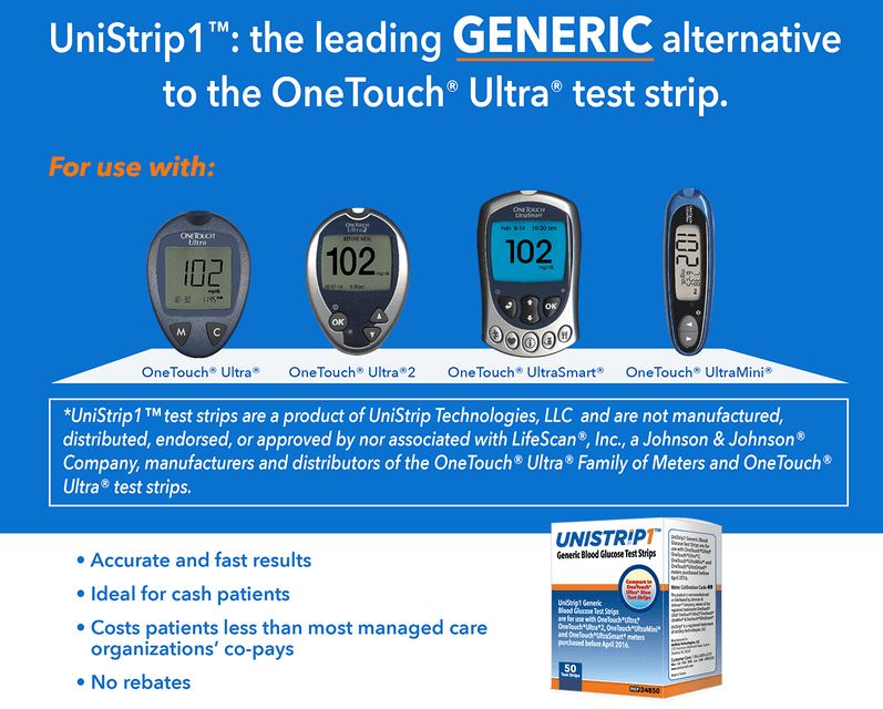 Unistrip One touch diabetic test strips