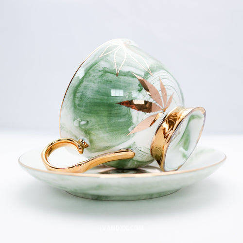 Gold Green Queen High Tea Cup & Saucer - Limited Edition by Fashionably High