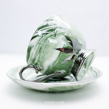 Silver Green Queen High Tea Cup & Saucer - Limited Edition by Fashionably High