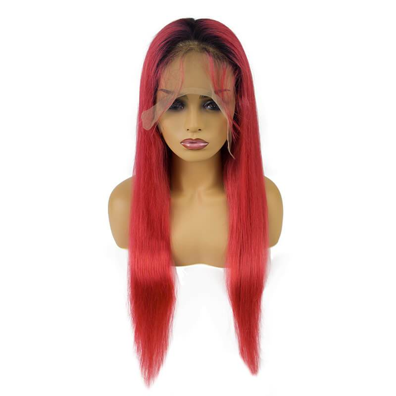 Red lace front wig human hair-5