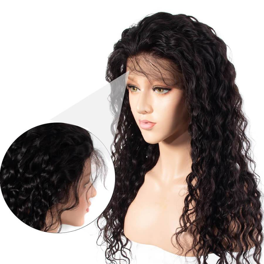 Human lace front wigs with baby hair-5