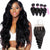 8A 4 Bundles Remy Hair Loose Wave Peruvian Hair With 4x4 Lace Closure Three Part Larwehair