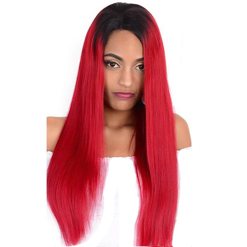 Red lace front wig human hair-4