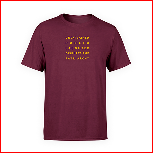 'Public Laughter' Maroon T-shirt