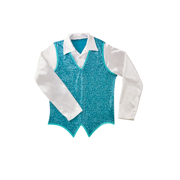 357 - E1801Z  Guys' Sequin Vest with Attached Shirt