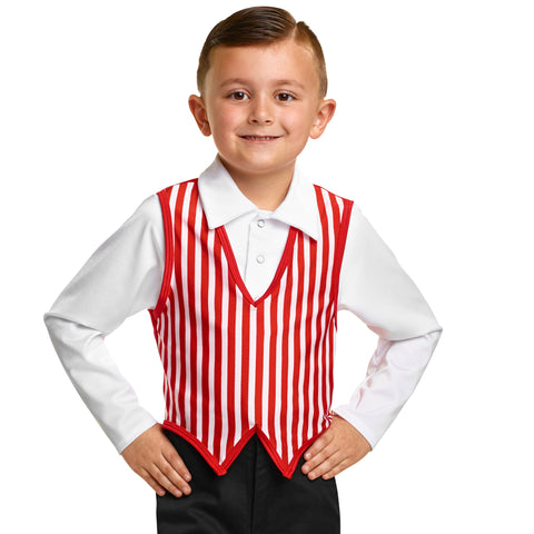 353 - E1801S  Guy's Striped Vest With Attached Shirt