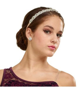 P025 - W1485 Round Faceted Stone Stretch Headband