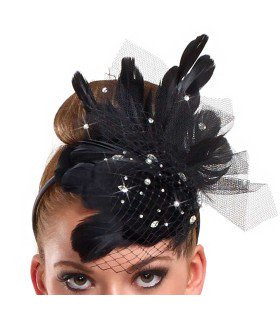999 - W1464 Feather and Net Headband